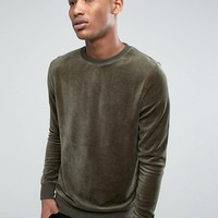 Brave Soul Velour Sweatshirt at asos.com