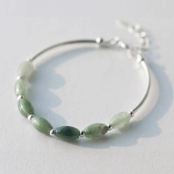 100% Real. 925 Sterling Silver Natural Green Jade Oval/ waterdrop &Lucky Ball round bead charms Bracelet Bangle Cuff GTLS398