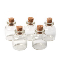 1 Lot/ 5 Pcs 22x28mm Empty Tiny Small Clear Cork Message Glass Bottles Vials 4ml #MD686