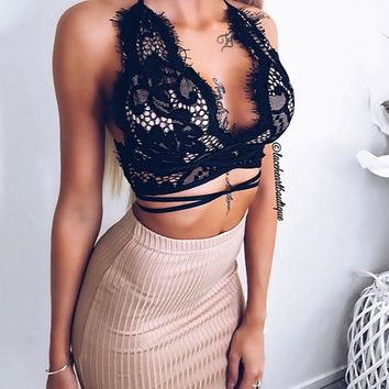 Women Cross Bandage Lace Crop Tops Sexy Spaghetti Strap Sheer Lace Bra Tops Boho Summer Unpadded See Through Camis Tank Tops