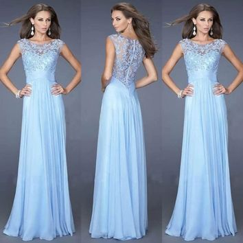 d2d44b44a73 Liujos Sexy Evening Party Prom Gown Formal Bridesmaid Cocktail Chiffon Lace  Dress