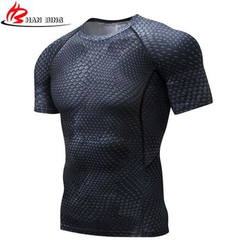 Men Compression Short sleeve Breathable Quick Dry T Shirts Bodybuilding Weight lifting Base Layer Fitness Tight Tops T-shirt men