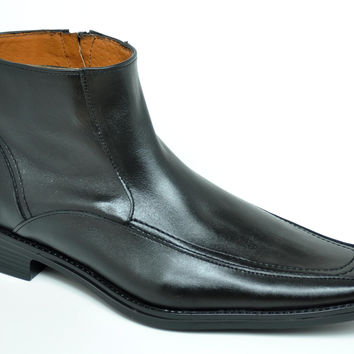 Baronett Men's Dress Ankle Side Zip Black Leather Boots