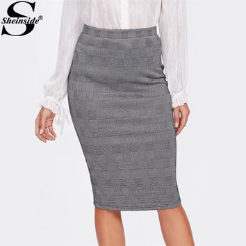 Sheinside Vented Back High Waist Plaid Pencil Skirt Grey Knee Length Split Elegant Skirt Women Work Sheath Skirt