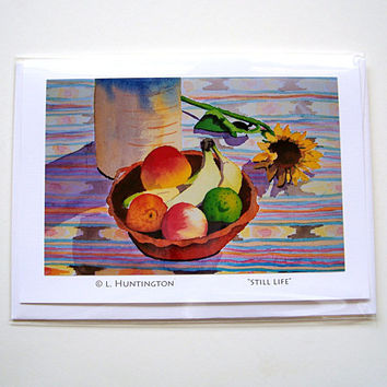 "Art Card, Blank Note Cards, ""Still Life"" Lisa Huntington Artist, Fine Art Cards, Greeting Cards, Note cards, Floral Art, Still Life Card"