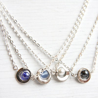 Small Dainty Necklace, Sterling Silver Chain, Simple Everyday Jewelry, Layering Necklace, You Chose White or Black Pearl or Blue Glass
