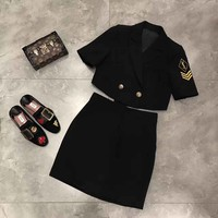 """Yves Saint Laurent"" Women Bodycon Letter Badge Embroidery Short Sleeve Short Small Suit Coat High Waist Short Skirt Set Two-Piece"