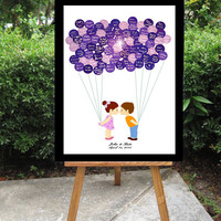 Wedding Guest Book Alternative - Balloon Stickers Sign In - Cute Little Girl & Boy Kids Kissing Couple - Unique Large Wedding Guest Book