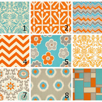 """Accent Pillows Your CHOICE Mix & Match TRIO Decorative Pillow Covers Turquoise and Orange 18 x 18 inches aqua, tangerine, natural IKAT 18"""""""