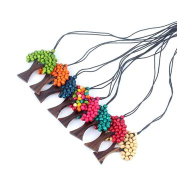 1 Pcs New Lovely Plant Fashion Multicolor Wooden Pendant Necklace Bead Tree of Life Natural Healing Hot Sale Gifts for Friends
