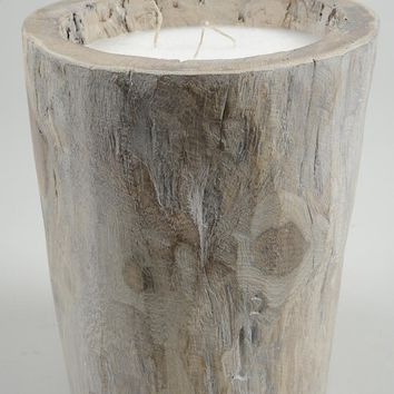 "20"" Seaside Treasures Rustic Chic Giant Wooden Log Decorative Triple Wick Wax Pillar Candle"