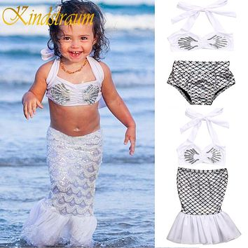 3pcs Baby Girl bikini Set Summer Swimwear Holiday Girls Kids Mermaid Tail Bikini Set Swim Suit Costume