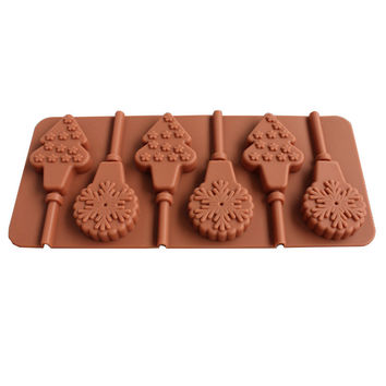6 with Christmas tree snowflake lollipops silicone chocolate mold diy hand lollipop with stick [11498389583]