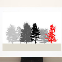 Large Canvas Print Black White Red Trees16x24 minimalist office art - Gift for him
