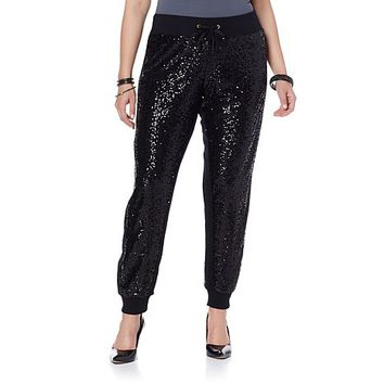 Wendy Williams Sequin Jogger Pant | HSN