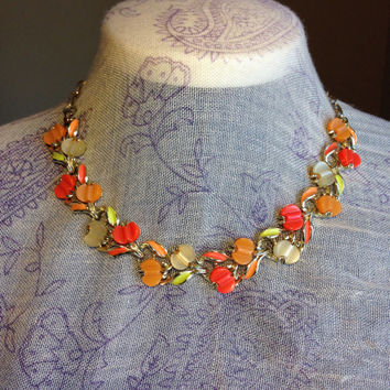 Rare Pumpkin Patch Choker Necklace-Vintage 1950's Costume Jewelry