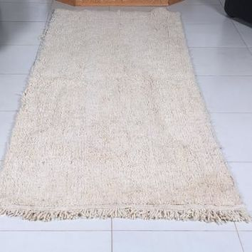 Long runner rug, 3ft x 7.7ft, Gorgeous Beni Ourain Luxurious Authentic beni ourain moroccan berber Plain solid carpet