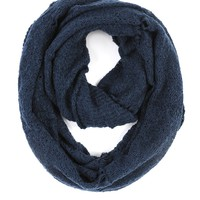 Paula Bianco Frayed Infinity Scarf in Dark Denim