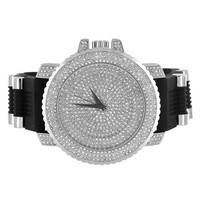 Mens Watch Iced Out Casing Bullet Design Strap