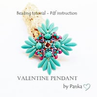 Beading pendant tutorial. Beading pattern. How make to jewelry tutorial. Pdf file, pfd instruction.