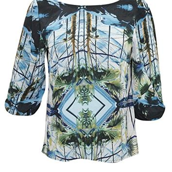 Phoenix Women Blouse Blue Tropical Print Deep Back Casual Beach Resort Fashion Top
