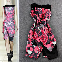 Black and Red Floral Mosaic Sleeveless Wrap Slit Mini  Dress