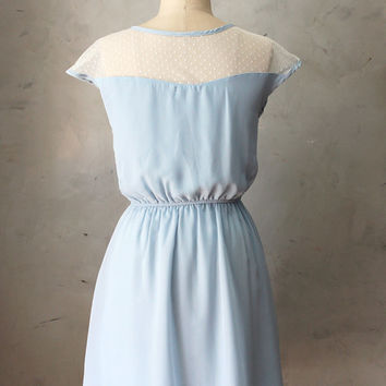 PETIT DEJEUNER CORNFLOWER - Dusty light blue chiffon dress ivory lace neckline // retro // vintage inspired // pastel // bridesmaid // polka