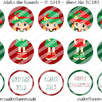 Editable Girl Christmas Ornament Set - 1 inch Circle Bottle Cap Image - 4x6 and 8.5x11 Digital Collage Sheet (No. BC183) - Instant Download