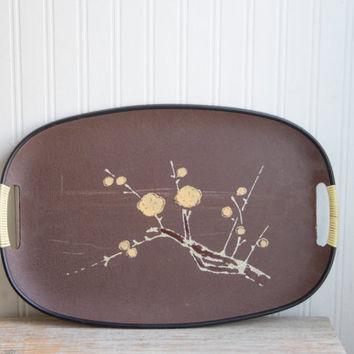 Vintage Decorative Tray, Earthy Brown with hand painted flowers and glitter, Retro Mid Century, Boho chic decor