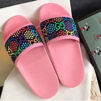 GUCCI couple beach drag 2020 GG sandals and slippers colorful print shoes