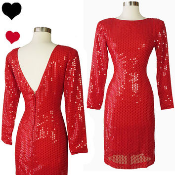 Vintage 80s 90s Dress // Red Sequin Party XS Bombshell Sparkle Shiny Long Sleeve Sheath Prom Cocktail Pinup Devil Party