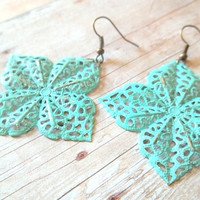W I S H - Turquoise Blue Lace Flower Handpainted Antique Bronze Metal Filigree Dangle Earrings