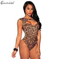 Gamiss Summer Sexy Club Jumpsuit Women Hollow Leopard Print Rompers Black Shorts Bodycon Bodysuit Playsuit Overalls