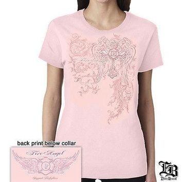 New LADIES WOMENS FIREFIGHTER ANGEL PINK  T-SHIRT