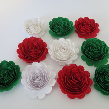 "Mexican American Wedding Decorations, 10 Large Red White Green Roses Italy Flag colors 3"" paper flowers, Pizza Shop Italian Restaurant decor"