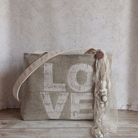 Love Music Applique and Wheat Burlap Tattered Tote Bag