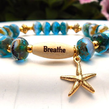 CHOOSE YOUR WORD Breathe Bracelet with a Beautiful Starfish Charm