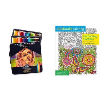 Zendoodle Coloring: Enchanting Gardens: Captivating Florals to Color and Display and Prismacolor Premier Soft Core Colored Pencil, Set of 48 Assorted Colors