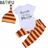BBYIFU Unisex Baby Summer Baby Boy Clothes Newborn Girl Short Sleeve Baby Clothes Children's Clothes Baby Girl Clothing 0-1Y