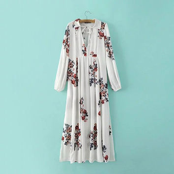 White Flower Print V-Neck Long Chiffon Dress