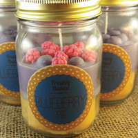 Blueberry Pie Soy Wax Candle (No Phthalates, Vegan, Hand Poured), 10 oz. Dual Scented and Color