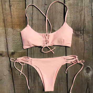 Pink Solid Halter Bikini Set Swimsuit +Free Gift -Random Necklace