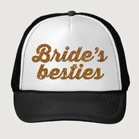 Glitter Print! Brides Besties, Trucker Hat, Bachelorette Party Trucker Hat, Bridal Party Trucker Hat, Baseball Hat, One Size Fits Most