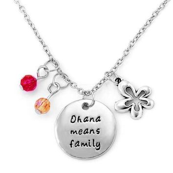 ON SALE - Ohana Means Family - Stamped Sentiment Necklace