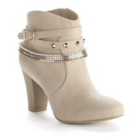 Jennifer Lopez Perforated Studded Ankle Booties - Women