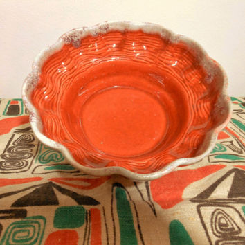 Orange California Pottery Bowl, Orange Mid Century Fluted Bowl, Burnt Orange Bowl, Orange Glazed Bowl, Vegetable Bowl, Chip and Dip Bowl