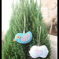 Christmas Ornament - Cute ornament - set of bird and Joy christmas ornaments -  READY TO SHIP