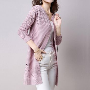 Autumn Women Cardigan Sweaters Solid Color Hollow Long Sleeve Open Knit Poncho Female Knitted Outerwear
