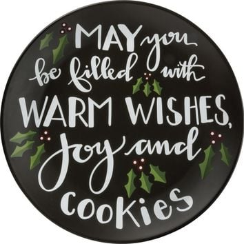 Holiday Sharing Plate - Warm Wishes Joy And Cookies 12-in