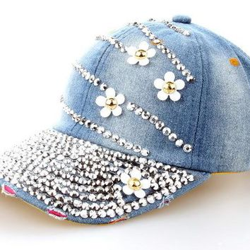 Fashion Cotton Jean Caps Women Rhinestone baseball cap Lady JEAN summer hat